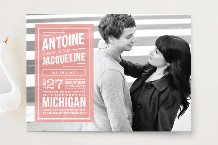 """Romantic Superhero"" - Vintage Engagement Party Invitations in Sherbert by chocomocacino."