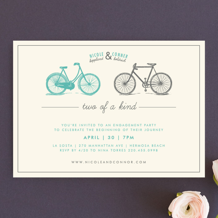 """Two of a Kind"" - Vintage Engagement Party Invitations in Aqua by trbdesign."
