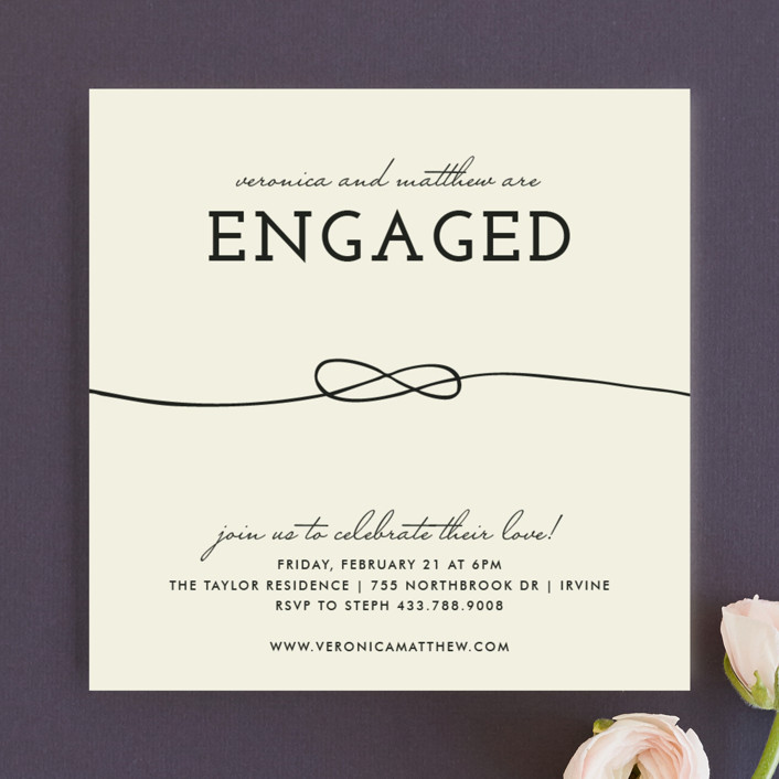 """""""Tied Together"""" - Modern Engagement Party Invitations in Natural by trbdesign."""