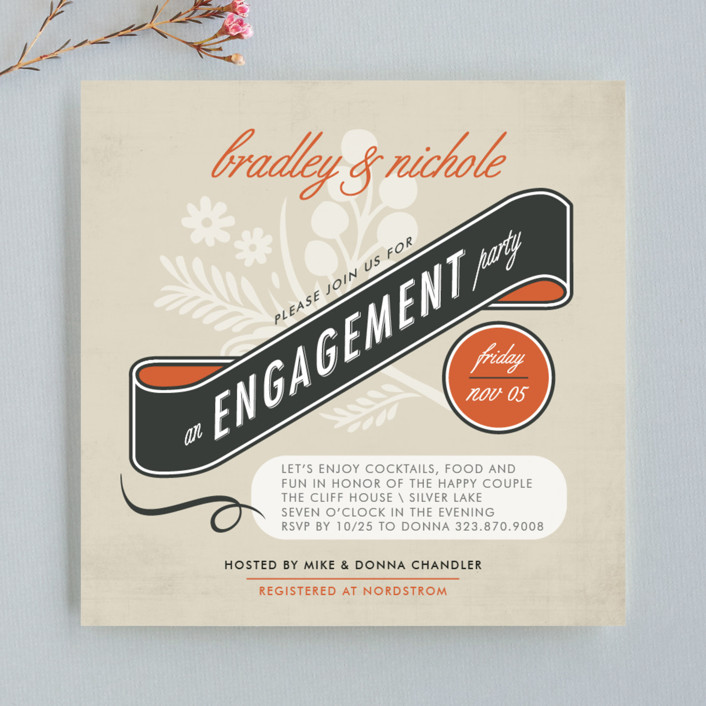 """""""Classic Vintage"""" - Vintage Engagement Party Invitations in Tangerine by trbdesign."""