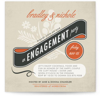 Classic Vintage Engagement Party Invitations