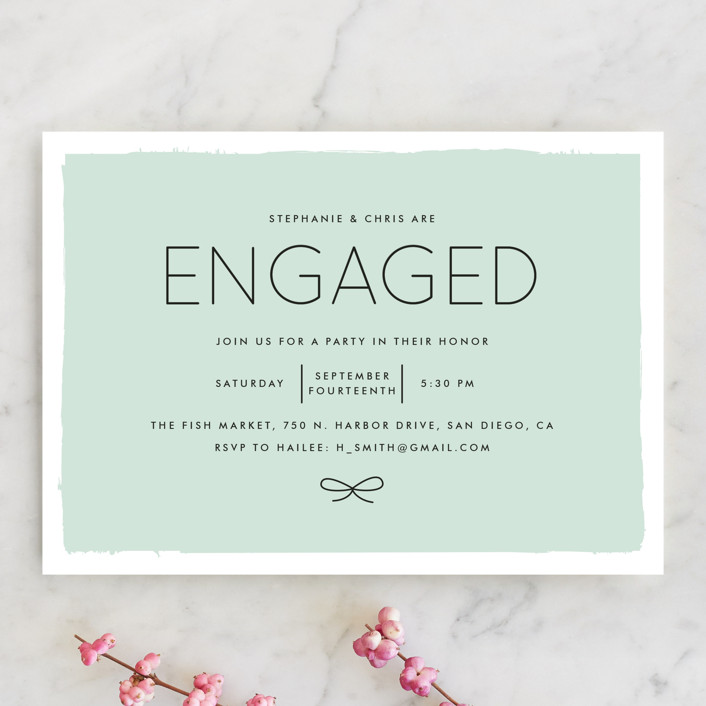"""Knotted"" - Modern Engagement Party Invitations in Aqua by Amber Barkley."
