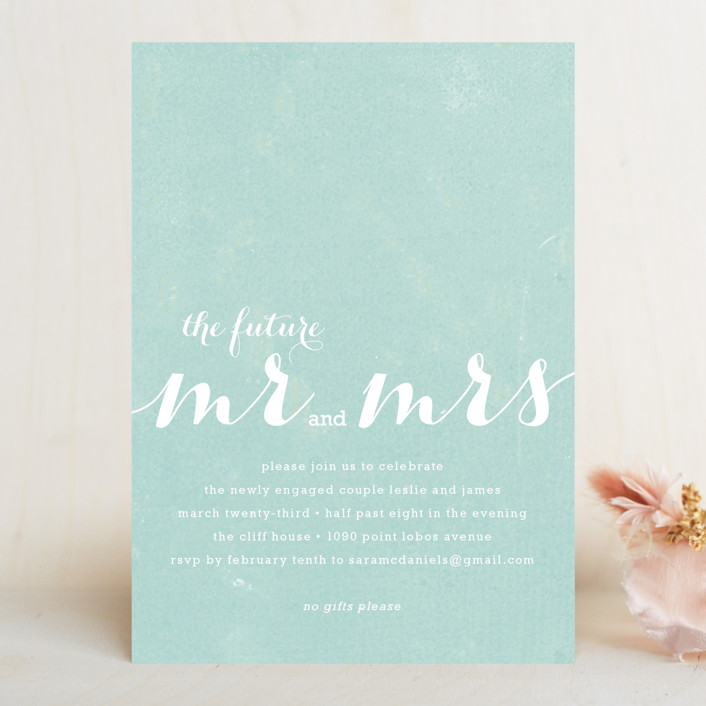 """The Future Mr. and Mrs."" - Modern Engagement Party Invitations in Light Aqua by Roxy Cervantes."