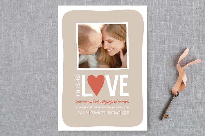 """""""This is Love"""" - Whimsical & Funny Engagement Party Invitations in Khaki by Guess What Design Studio."""