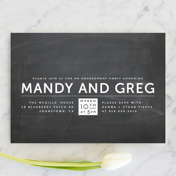 """""""Laid Back Black and White"""" - Modern Engagement Party Invitations in Chalk by Up Up Creative."""