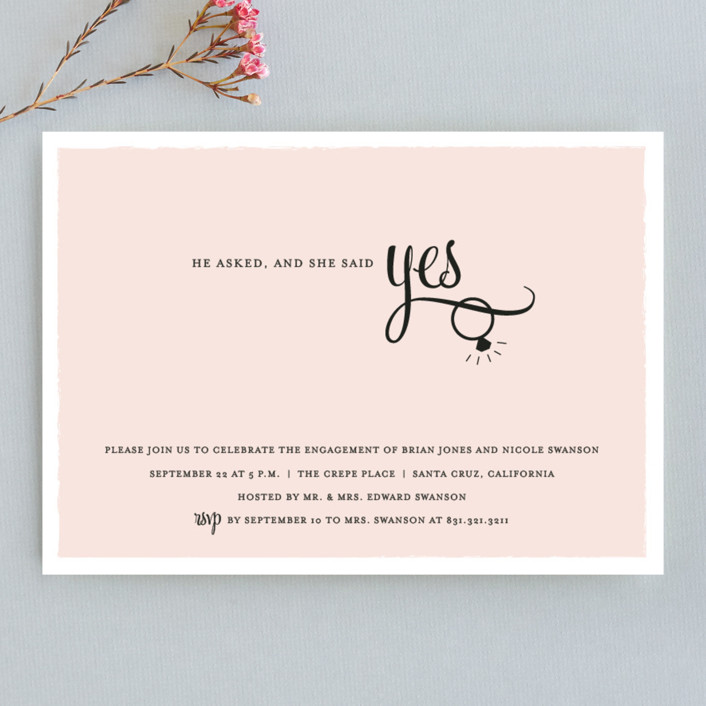 """He Asked"" - Formal Engagement Party Invitations in Blush by Sarah Curry."
