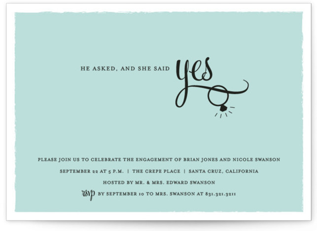 "This is a landscape formal, blue Engagement Party Invitations by Sarah Curry called He Asked with Standard printing on Signature in Classic Flat Card format. 7"" x 5""Size. Our unique wedding party invitations are fully customizable, sourced from independent designers ..."