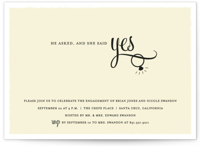 "This is a landscape formal, yellow Engagement Party Invitations by Sarah Curry called He Asked with Standard printing on Signature in Classic Flat Card format. 7"" x 5""Size. Our unique wedding party invitations are fully customizable, sourced from independent designers ..."