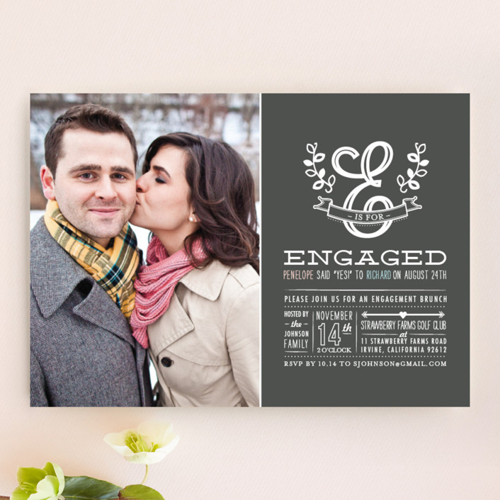 """E is for Engaged"" - Floral & Botanical Engagement Party Invitations in Charcoal by Frooted Design."