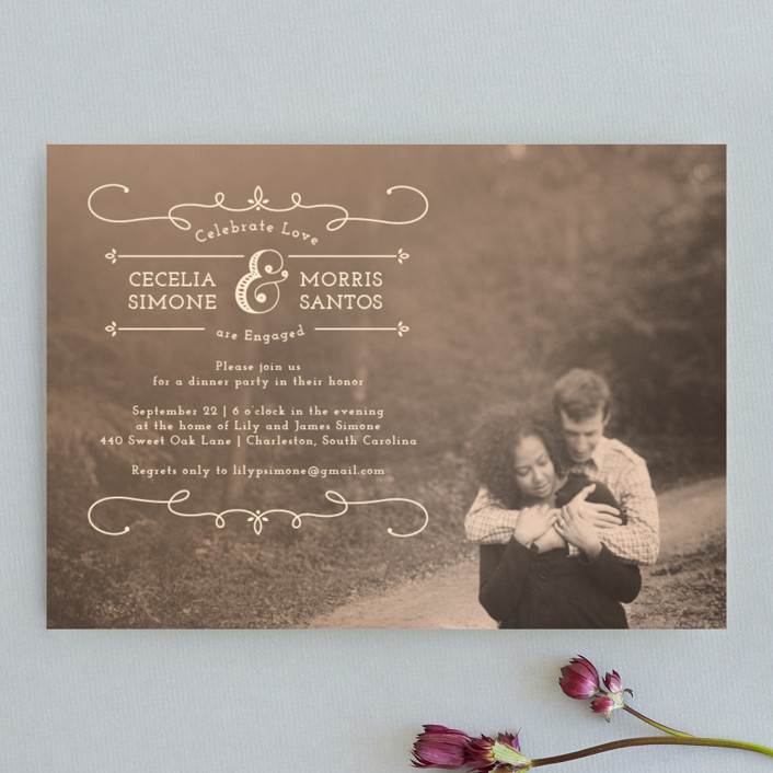 """""""Kiss Me"""" - Vintage, Formal Engagement Party Invitations in Cream by Susie Allen."""