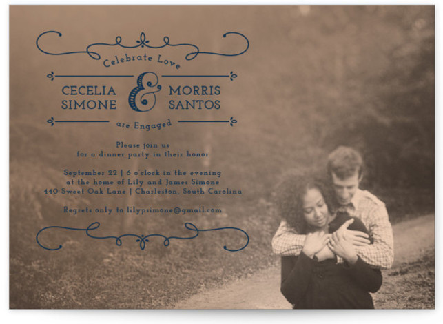 """This is a landscape formal, vintage, blue Engagement Party Invitations by Susie Allen called Kiss Me with Standard printing on Signature in Classic Flat Card format. 7"""" x 5""""Size. Our unique wedding party invitations are fully customizable, sourced from independent ..."""