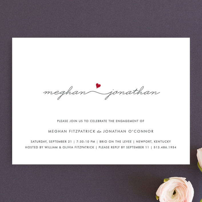 """Love Connection"" - Modern Engagement Party Invitations in Red Hot by Kim Dietrich Elam."