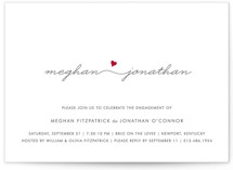 This is a red engagement party invitation by Kim Dietrich Elam called Love Connection with standard printing on signature in standard.