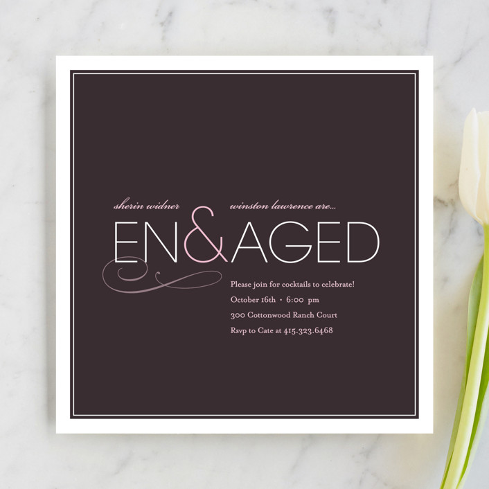 """Engaged"" - Modern Engagement Party Invitations in Eggplant by kelli hall."