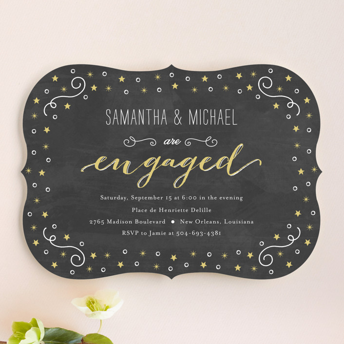 """""""Starry"""" - Whimsical & Funny Engagement Party Invitations in Chalkboard by Chasity Smith."""