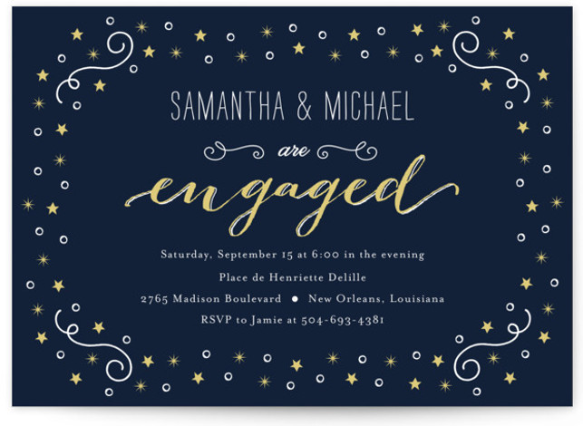 This is a landscape whimsical, blue Engagement Party Invitations by Chasity Smith called Starry with Standard printing on Signature in Classic Flat Card format. A design that features stars on a chalkboard.