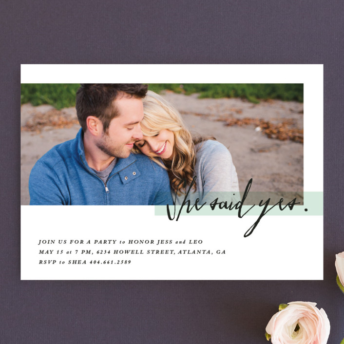 """Yes!"" - Modern Engagement Party Invitations in Minty Fresh by Stacey Meacham."