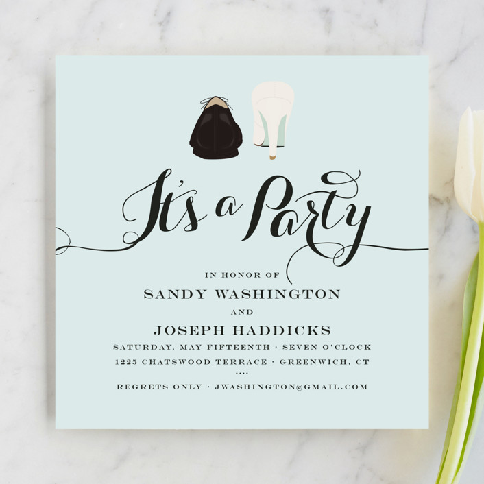 """""""What A Pair"""" - Whimsical & Funny Engagement Party Invitations in Robin's Egg by That Girl Press."""