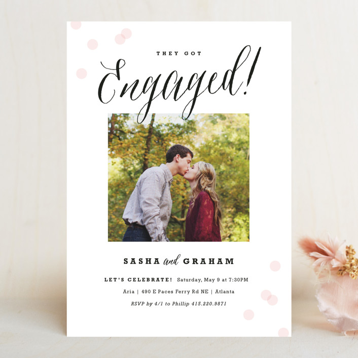 """""""Engagement Story"""" - Modern Engagement Party Invitations in Petal by Carolyn MacLaren."""