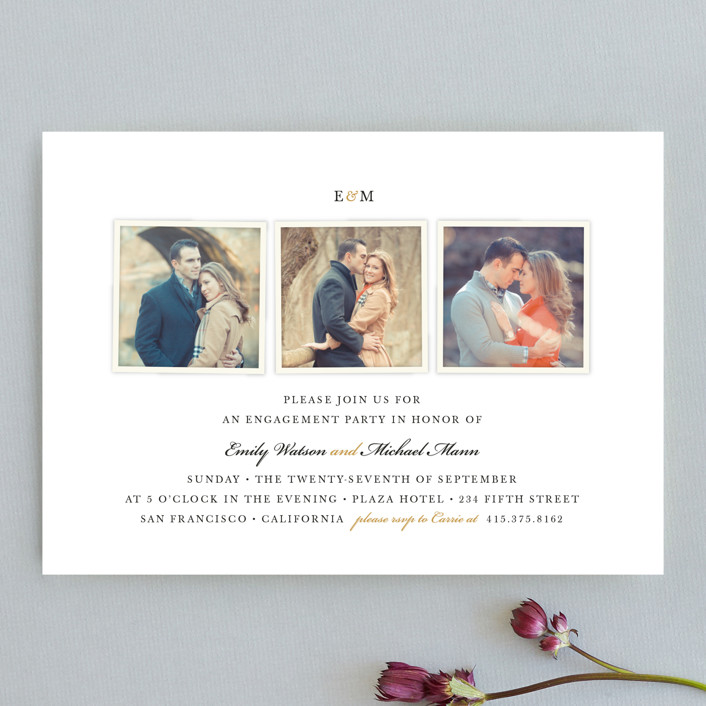 """""""Classic photography"""" - Elegant Engagement Party Invitations in Gold by Four Wet Feet Studio."""