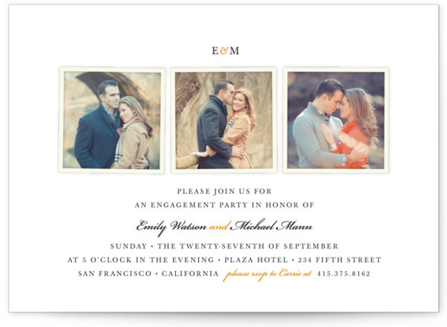 This is a landscape classic, elegant, orange Engagement Party Invitations by Four Wet Feet Studio called Classic photography with Standard printing on Signature in Classic Flat Card format. A minimal and classic three photo engagement party invite