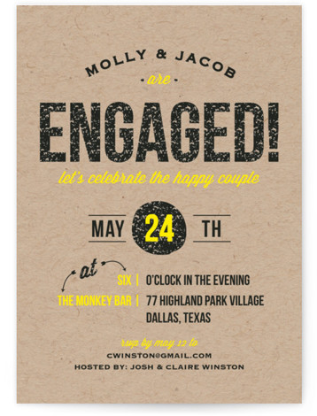 This is a portrait modern, brown Engagement Party Invitations by Kaydi Bishop called Get Excited with Standard printing on Signature in Classic Flat Card format. A bold and festive engagement party invite bursting with texture and color to celebrate the ...