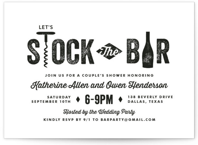This is a landscape whimsical, black Engagement Party Invitations by Lauren Chism called Bar Cart with Standard printing on Signature in Classic Flat Card format. The word 'shower' might scare some guys, but this is a party that they will ...