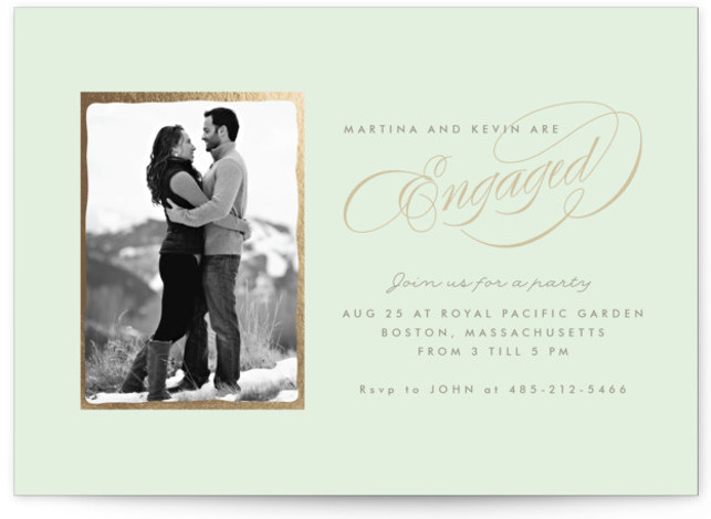 """This is a landscape classic, classical, elegant, formal, green Engagement Party Invitations by chocomocacino called Sonata with Standard printing on Signature in Classic Flat Card format. 7"""" x 5""""Size. Simple and elegant invite , with couple's pic and beautiful calligraphy ..."""