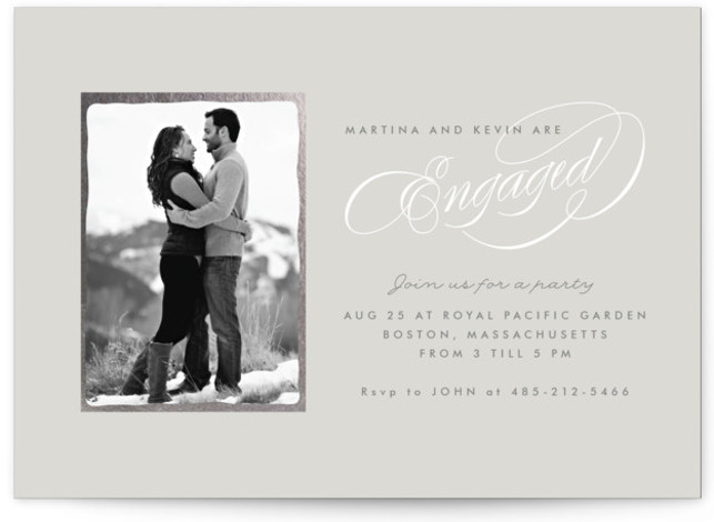 This is a landscape classic, classical, elegant, formal, grey Engagement Party Invitations by chocomocacino called Sonata with Standard printing on Signature in Classic Flat Card format. Simple and elegant invite , with couple's pic and beautiful calligraphy