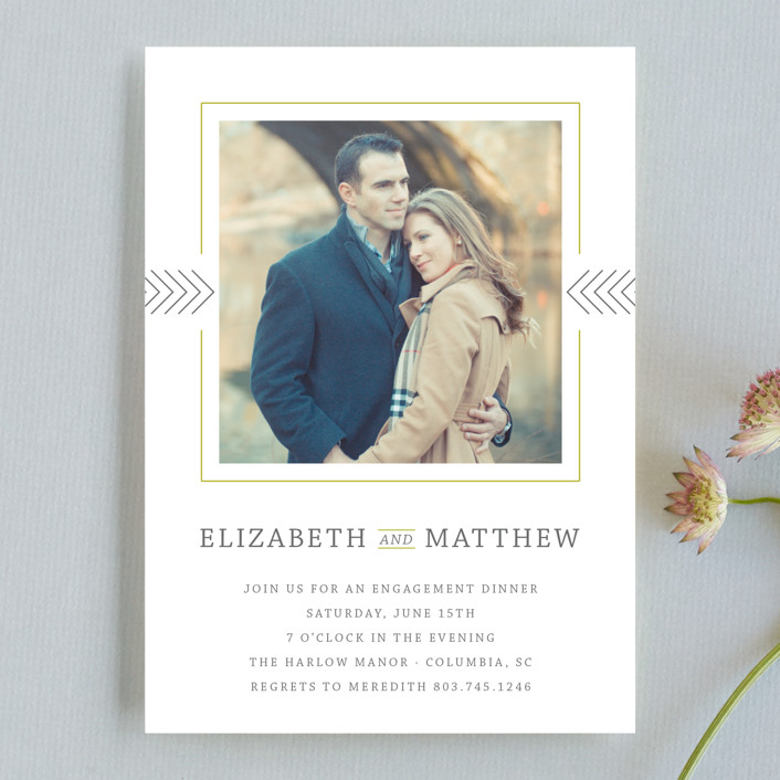 """""""Framed Photo"""" - Modern Engagement Party Invitations in Honeydew by Dulce Dahlia."""