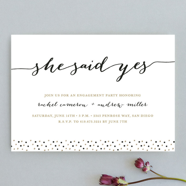 """Elegant Dots"" - Modern Engagement Party Invitations in Bronze by Erica Krystek."