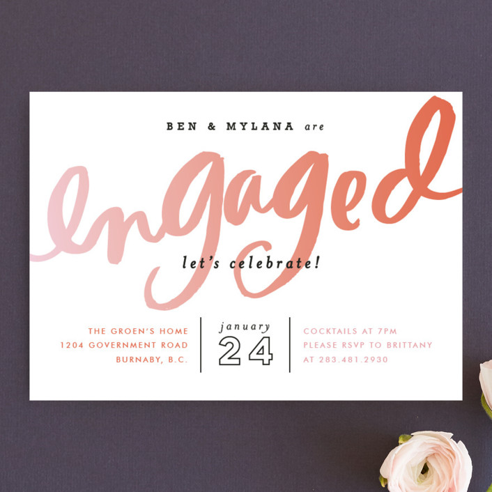 """""""Gradient Script"""" - Modern Engagement Party Invitations in Coral by Alethea and Ruth."""