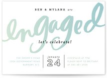 This is a blue engagement party invitation by Alethea and Ruth called Gradient Script with standard printing on signature in standard.