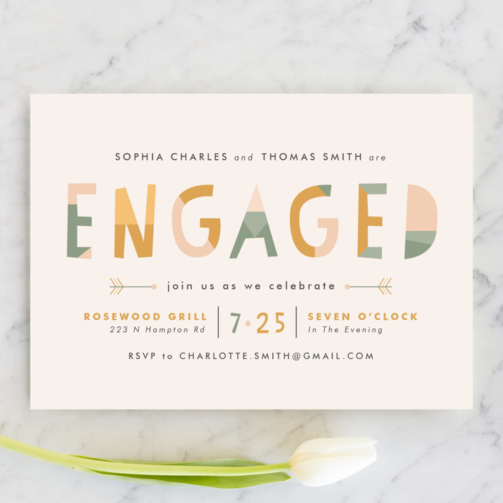 """Sedona"" - Modern Engagement Party Invitations in Sage by Pistols."