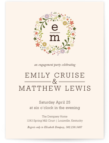 This is a portrait elegant, floral, pink Engagement Party Invitations by Brittany Warren called Grace in Bloom with Standard printing on Signature in Classic Flat Card format. This elegant A7 engagement shower invitation features beautiful spring florals with classic typography. ...