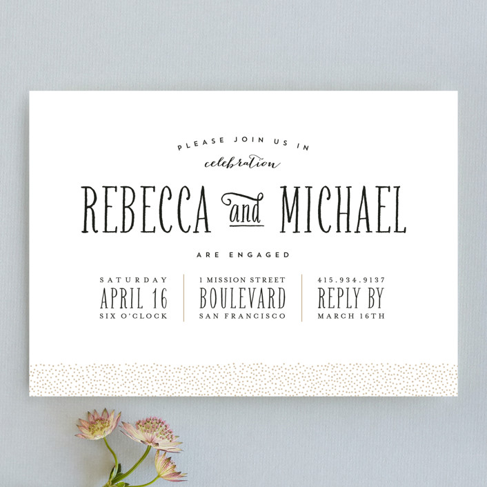 """Gold Dotted"" - Modern Engagement Party Invitations in Gold by Roxy Cervantes."