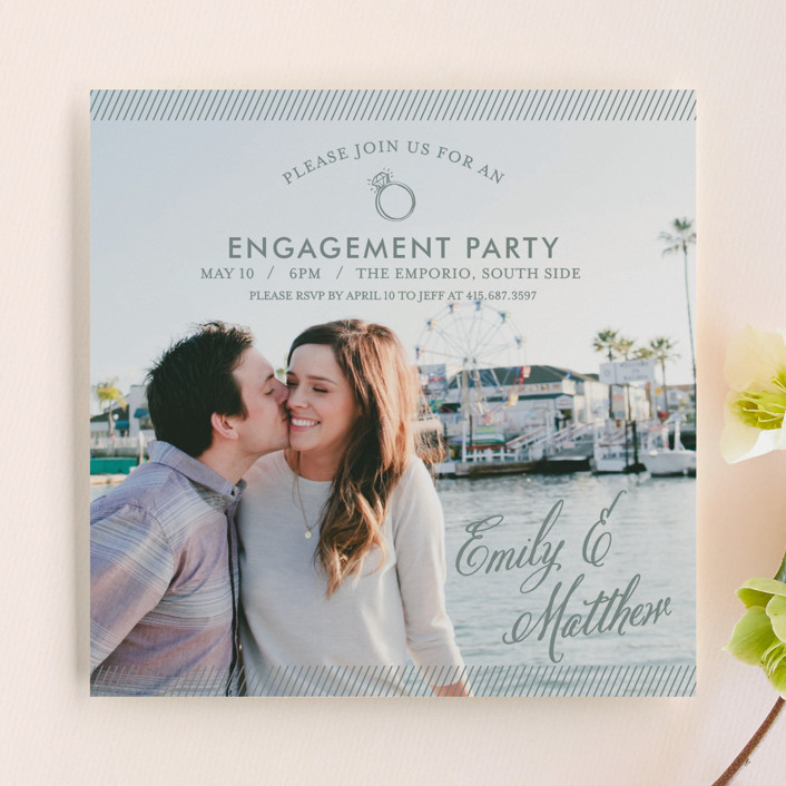 """""""Simple Celebration"""" - Whimsical & Funny Engagement Party Invitations in Cloudy by Loree Mayer."""