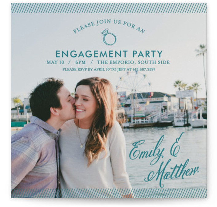 This is a square whimsical, green Engagement Party Invitations by Loree Mayer called Simple Celebration with Standard printing on Signature in Classic Flat Card format. This simple and chic engagement party invitation features a large full bleed photo.