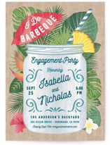 This is a brown engagement party invitation by Paper Sun Studio called Tropical Celebration with standard printing on signature in standard.