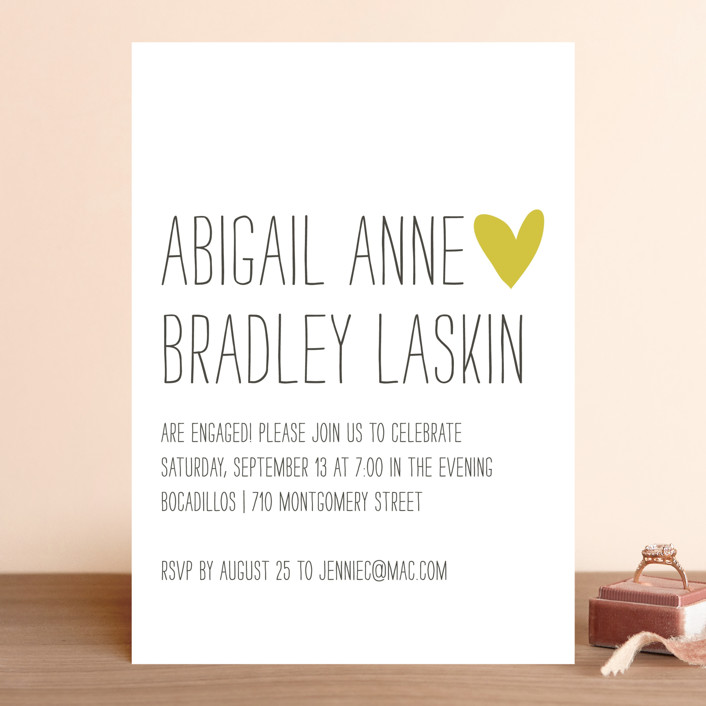"""""""Passing Notes"""" - Whimsical & Funny Engagement Party Invitations in Mustard Seed by annie clark."""