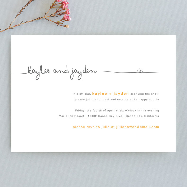 """""""The Happy Couple"""" - Whimsical & Funny Engagement Party Invitations in Tangerine by R studio."""