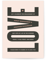 This is a grey engagement party invitation by Kim Dietrich Elam called In Love with standard printing on signature in standard.
