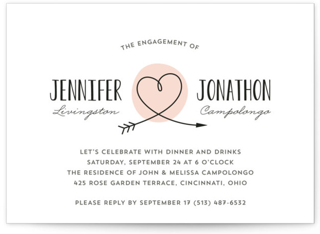 "This is a landscape simple, whimsical, pink Engagement Party Invitations by Kim Dietrich Elam called Lovestruck with Standard printing on Signature in Classic Flat Card format. 7"" x 5""Size. Our unique wedding party invitations are fully customizable, sourced from independent ..."