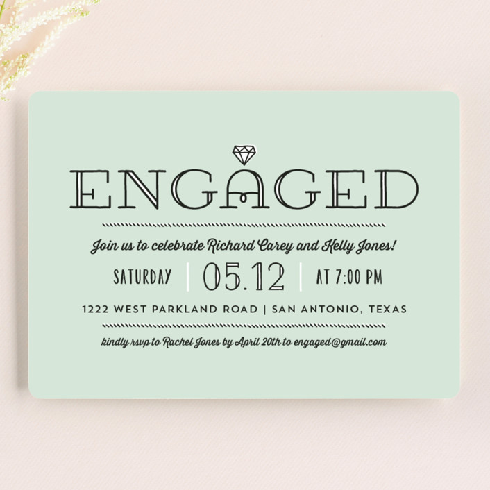 """Bling"" - Modern Engagement Party Invitations in Seafoam by Lauren Chism."
