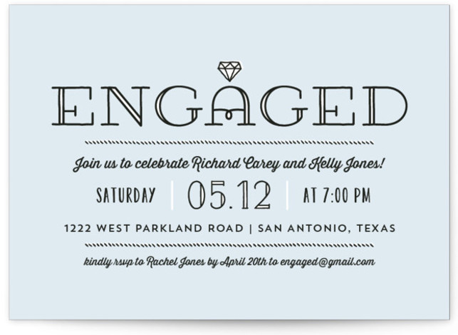 This is a landscape modern, blue Engagement Party Invitations by Lauren Chism called Bling with Standard printing on Signature in Classic Flat Card format. A playful arrangement of type and graphics give this engagement party invitation a fun vibe perfect ...