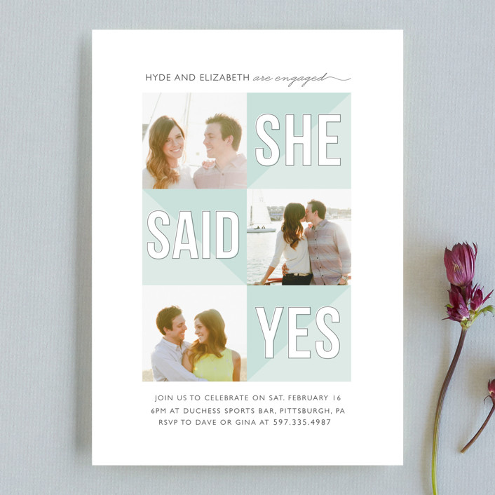 """She Said Yes"" - Modern Engagement Party Invitations in Cool Breeze by Bethany Anderson."