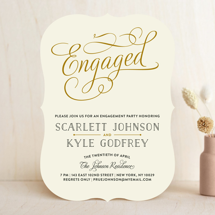 chic engagement formal elegant engagement party invitations in champagne by bonjour paper - Engagement Party Invite