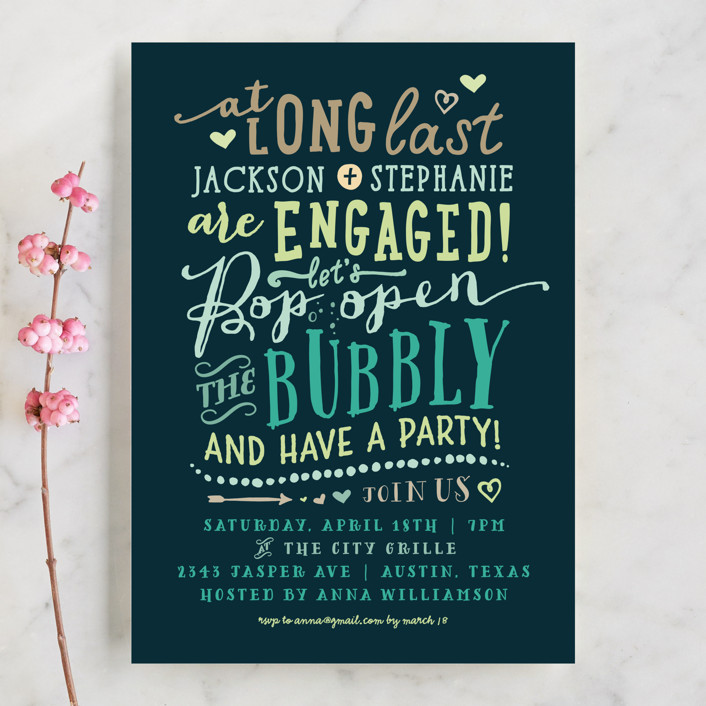 """Bubbly"" - Whimsical & Funny Engagement Party Invitations in Navy by Rebecca Bowen."