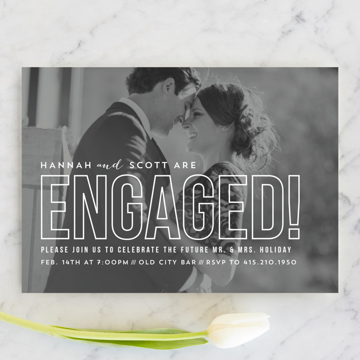 """Modern Romantic"" - Modern Engagement Party Invitations in Cloud by carly reed walker."