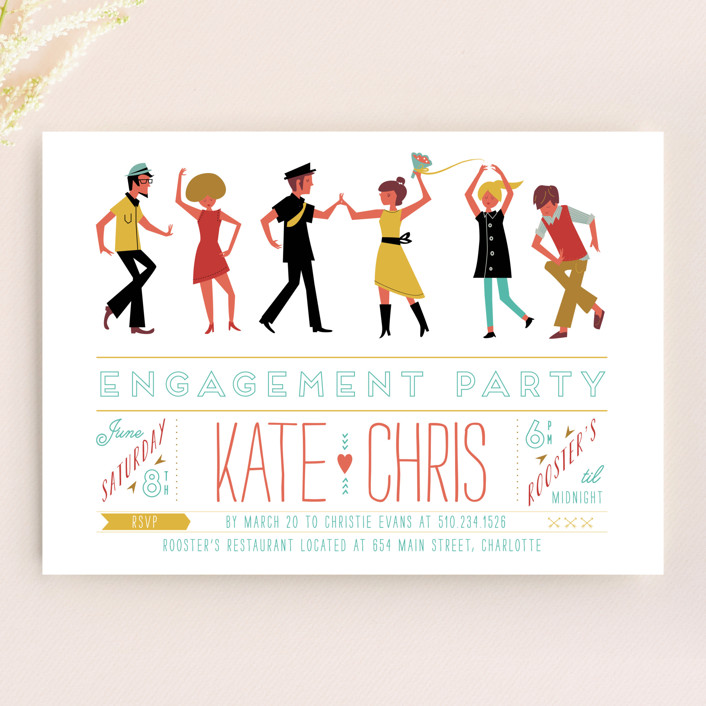 """""""Retro Party"""" - Vintage, Whimsical & Funny Engagement Party Invitations in Coral by Lori Wemple."""